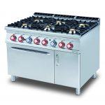 Cucina a gas 6 fuochi con forno elettrico