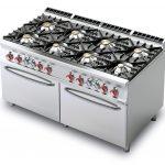 Cucina a gas 8 fuochi con forno elettrico