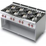 Cucina a gas con 8 fuochi su mobile